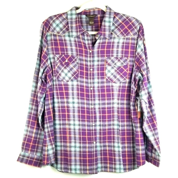 705d1987 Bit & Bridle Tops   Bit Bridle Womens Flannel Western Shirt Size L ...